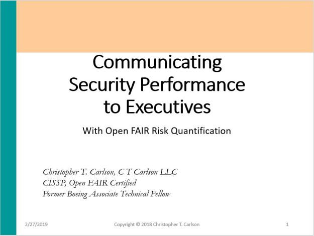 Communicating Security Performance